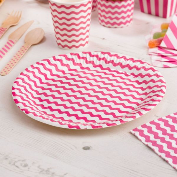 Carnival Pink Paper Plates - Waves (8)